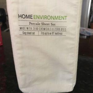 Home Environment Bedding - Organic Percale  sheets King set Home Environment